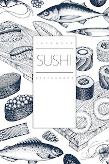 日本料理のテンプレート。寿司手描きイラスト。レトロなスタイルのサイアン料理の背景。