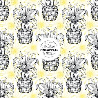 パイナップルのシームレスなパターン。