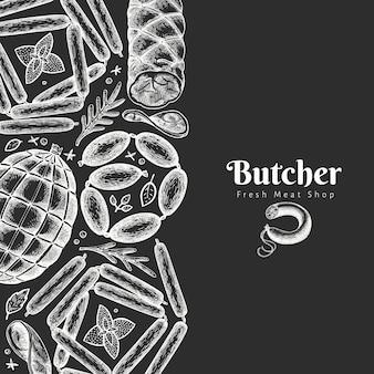Винтажные мясные продукты дизайн шаблона. ретро иллюстрация на доске мелом.