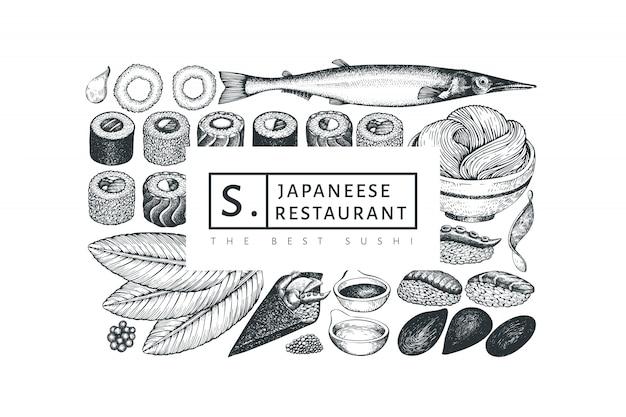 日本料理のデザインテンプレート。レトロなスタイルのサイアン料理の背景。
