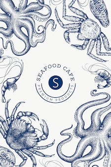Шаблон оформления морепродуктов. выгравированный стиль еды баннер. ретро морские животные фон