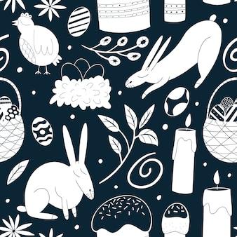 ハッピーイースターのシームレスなパターン。鶏肉、ウサギ、花、ケーキ、卵の背景。