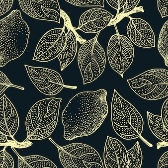 Бесшовный цветочный узор лимонные фрукты фон. цветы, листья лимоны