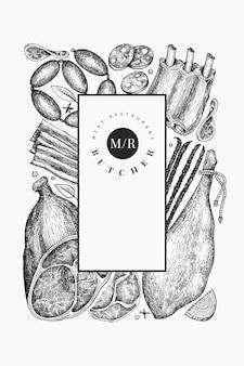 Винтажные мясные продукты дизайн шаблона. ручной обращается ветчина, колбасы, хамон, специи и травы. сырые пищевые ингредиенты. ретро иллюстрация. можно использовать для меню ресторана.