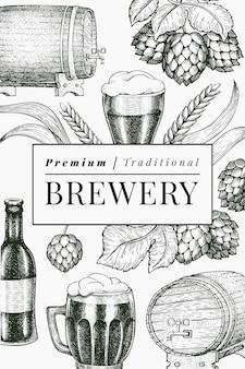 Пивной бокал и хоп дизайн шаблона. нарисованная рукой иллюстрация напитка паба. выгравированный стиль. ретро пивоваренный завод иллюстрации.