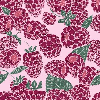 ラズベリーのシームレスなパターンベクトル。背景、パターン、布のデザイン、包装紙