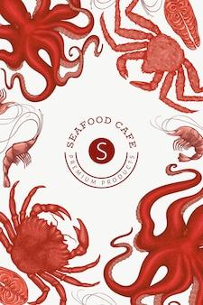 Шаблон оформления морепродуктов. ручной обращается иллюстрации из морепродуктов. выгравированный стиль еды. ретро морские животные фон