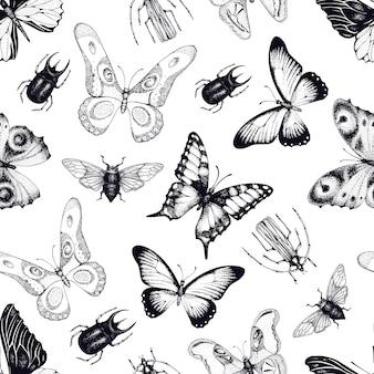 昆虫と蝶とのシームレスなパターンベクトル。昆虫学的背景手描きのヴィンテージのイラスト。