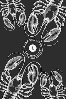 Лобстер баннер. нарисованная рукой иллюстрация морепродуктов на доске мела. выгравированный стиль. урожай фон морских животных