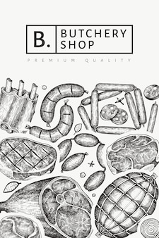 ヴィンテージ肉製品のデザイン。手描きのハム、ソーセージ、スパイス、ハーブ。レトロなイラスト。