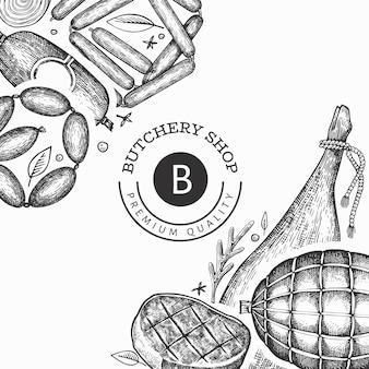 ヴィンテージ肉製品のデザイン。手描きのハム、ソーセージ、ハモン、スパイス、ハーブ。レトロなイラスト。レストランのメニューに使用できます。