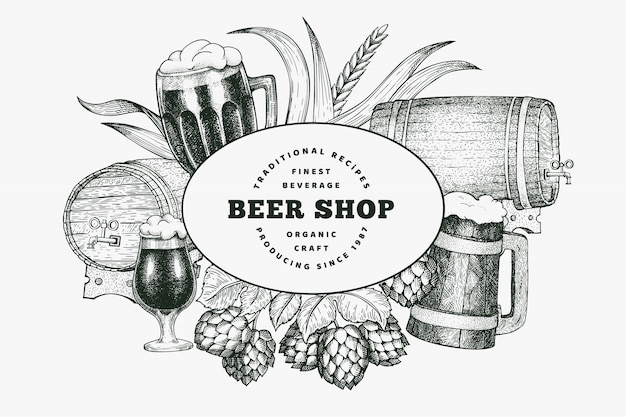 ビールグラスのマグカップとホップのデザイン。手描きのパブ飲料イラスト。刻まれたスタイル。レトロな醸造所のイラスト。