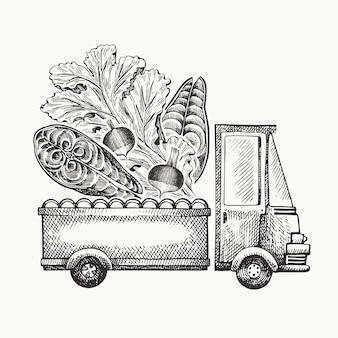 Шаблон логотипа доставки продуктов питания магазин. вручите вычерченную тележку с иллюстрацией овощей и рыб. выгравированный стиль ретро-дизайн еды.