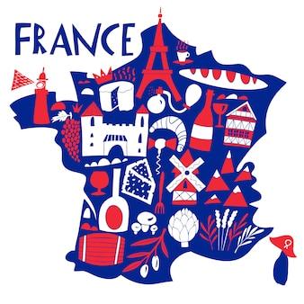 ベクトル手描きのフランスの様式化された地図。フランスのランドマーク、食べ物、植物のイラストを旅行します。地理図