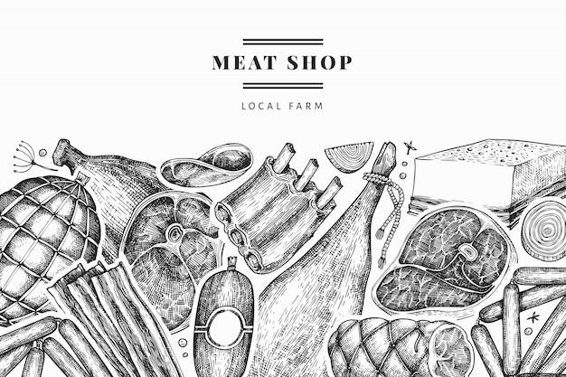 Винтажные мясные продукты дизайн шаблона. ручной обращается ветчина, колбасы, хамон, специи и травы. ретро иллюстрация.
