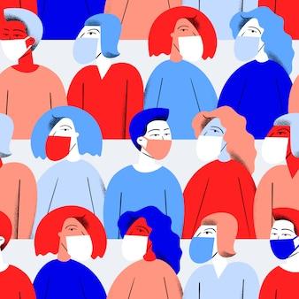 Пандемия концепции фон. люди в медицинской маске.