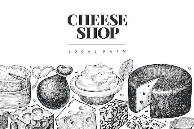 チーズ 。手描きの乳製品のイラスト。刻まれたスタイルの異なるチーズの種類ヴィンテージ食品の背景。