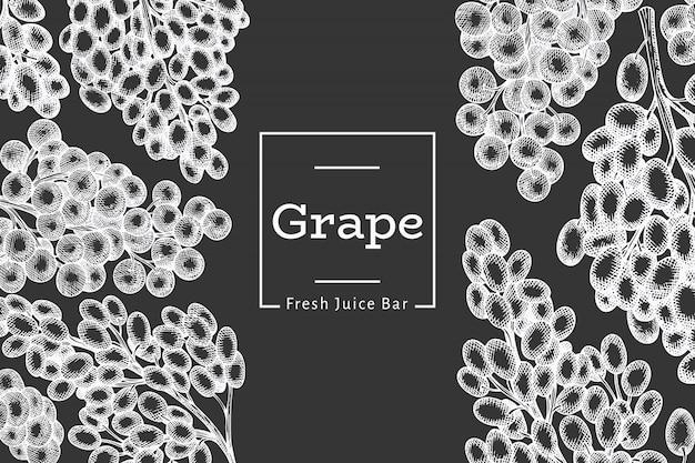 Виноградный шаблон. нарисованная рукой иллюстрация ягоды винограда на доске мела. выгравированный стиль ретро ботанический баннер.