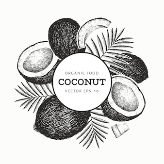 手のひらでココナッツの葉のテンプレート。手描きの食べ物イラスト。刻まれたスタイルのエキゾチックな植物。レトロな植物の熱帯の背景。