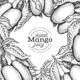 Манго дизайн шаблона. нарисованная рукой иллюстрация тропического плодоовощ. выгравированный стиль фруктов. урожай экзотическая еда баннер.
