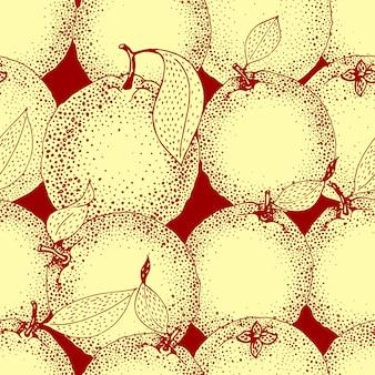 孤立した手のシームレスパターンには、スケッチスタイルのオレンジとスライスが描かれています。