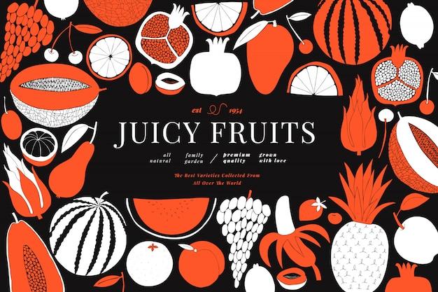北欧の手描きのフルーツデザインテンプレートです。モノクログラフィック。リノカットスタイル。健康食品。