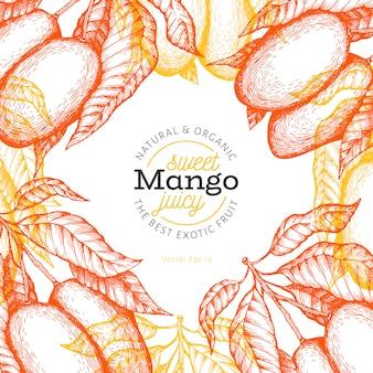 Манго шаблон. нарисованная рукой иллюстрация тропического плодоовощ. выгравированный стиль фруктов. винтажная экзотическая еда.
