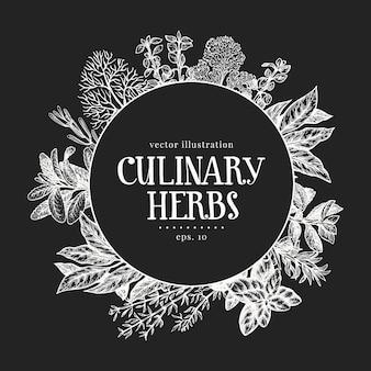 手描きの料理用ハーブのデザイン