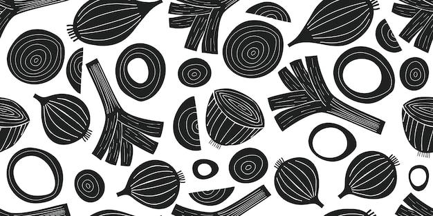手描きのベクトルネギシームレスパターン。