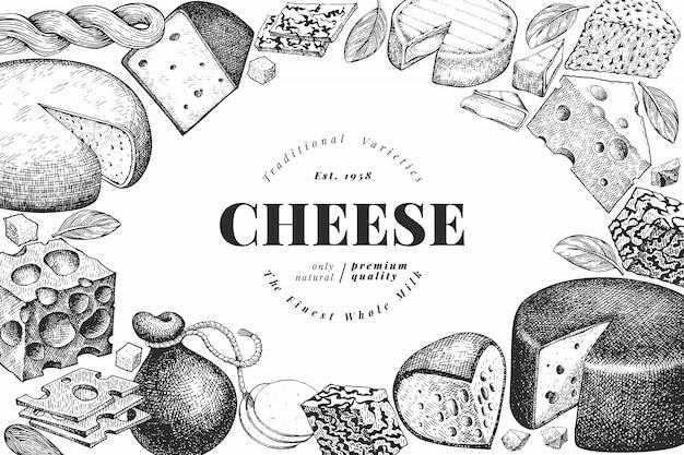 チーズ。手描きのベクトルの乳製品のイラスト。