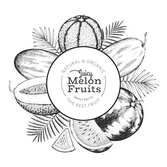 熱帯の葉とメロンとスイカ。手描きのベクトルのエキゾチックなフルーツのイラスト。刻まれたスタイルのフルーツ。レトロな植物のフレーム。
