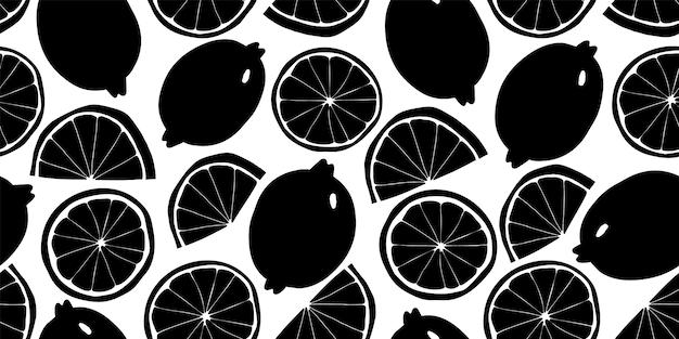 レモンのシームレスなパターン。手描きのフルーツイラスト。