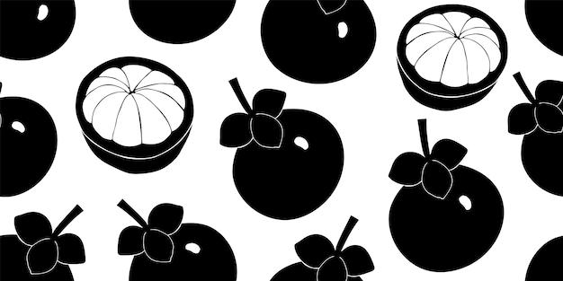 マンゴスチンのシームレスなパターン。手描きのフルーツイラスト。