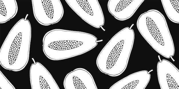 パパイヤのシームレスなパターン。手描きのフルーツイラスト。