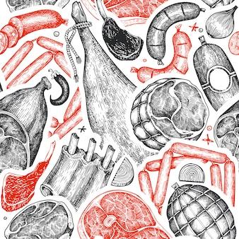 Винтаж векторный мясных продуктов бесшовный фон.