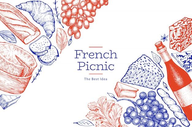 Французская еда иллюстрации дизайн шаблона.