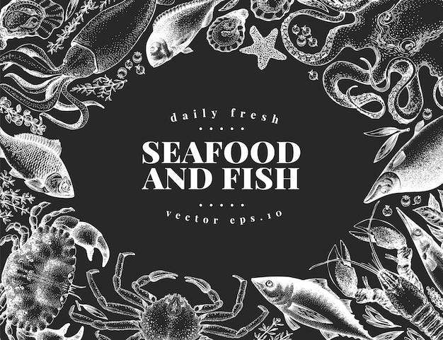 Нарисованный рукой шаблон дизайна морепродуктов.