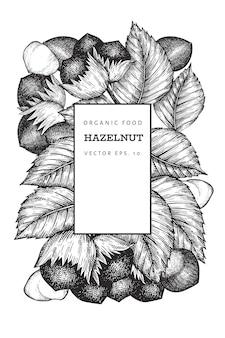 手描きスケッチヘーゼルナッツデザイン。ビンテージナットの図。刻まれたスタイルの植物の背景。