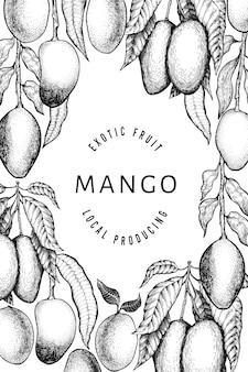 マンゴーのデザインテンプレートです。手描きの背景トロピカルフルーツイラスト。刻まれたスタイルのフルーツ。ビンテージのエキゾチックな食べ物イラスト