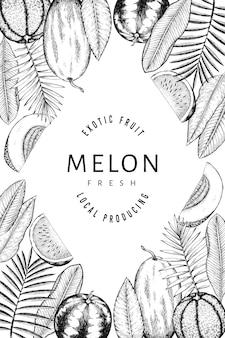 スイカ、メロン、熱帯の葉のデザインテンプレート。手描きのベクトルのエキゾチックなフルーツのイラスト。刻まれたスタイルのフルーツフレーム。