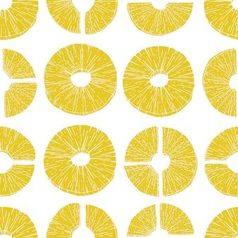 シームレスパターンパイナップルスライス。古いインクスタイルのベクトル図パイナップル。パンフレット、バナー、レストランメニュー、および市場向け
