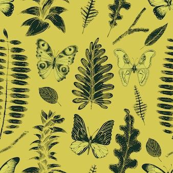 ベクトルレトロ手描き蝶とシームレスな植物学パターン。レトロなイラスト