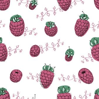 ラズベリーのシームレスパターン。カフェやオーガニックショップの手描きのベクトルの背景。