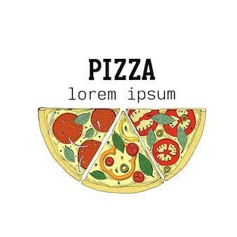 イタリアンピザのロゴのテンプレート手描きの背景イラスト。ピザ屋、カフェ、ショップ、レストランにも使えます。