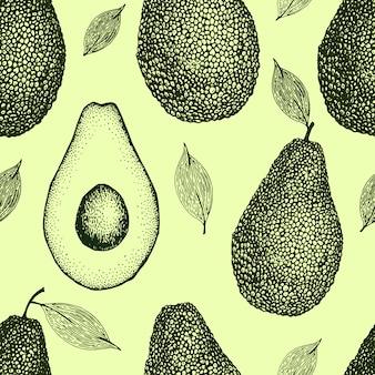 ベクトル手描きアボカドシームレスパターン。全体のアボカド、スライスされた部分、半分、葉と種スケッチビンテージスタイルの背景。詳細な食品図面。