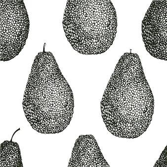 ベクトル手描きアボカドシームレスパターン。アボカド全体ビンテージスタイルの背景。詳細な食品図面。