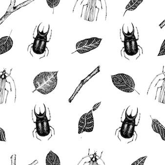 カブトムシ、昆虫、白い背景の上の葉を持つヴィンテージ手描きベクトルシームレスパターン。レトロなイラスト