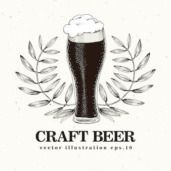クラフトビールビンテージスタイルのベクトル図です。
