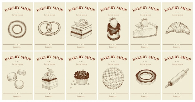 Этикетки с выпечкой и десертами. набор шаблонов ценников для булочной
