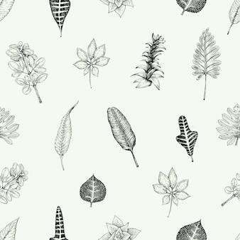Бесшовный батанский цветочный узор в винтажном стиле